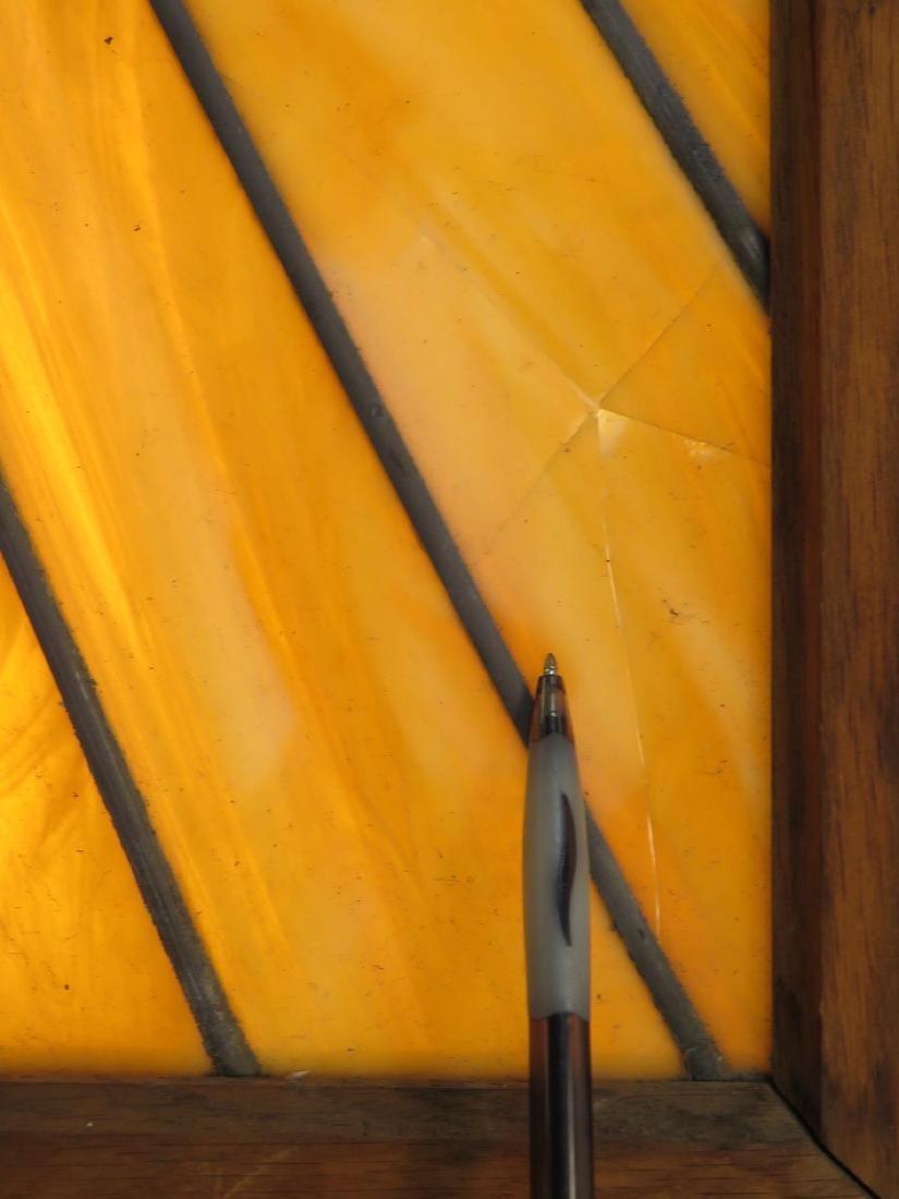 VINTAGE OAK FRAMED LEADED GLASS WINDOW PANEL - 7