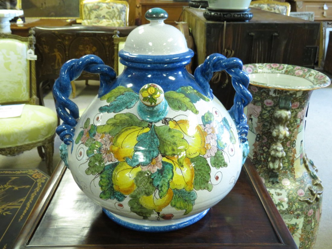LARGE ITALIAN HAND PAINTED POTTERY VESSEL