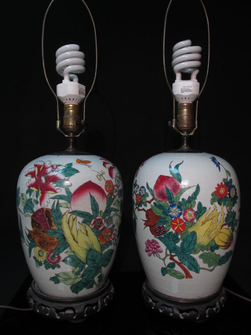 TWO CHINESE FAMILLE ROSE GINGER JARS AS LAMPS
