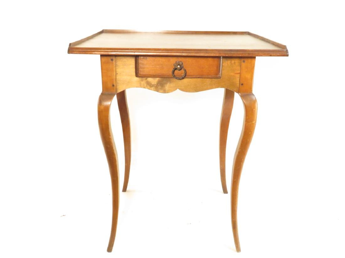 SMALL GLASS TOP CHERRYWOOD SIDE TABLE