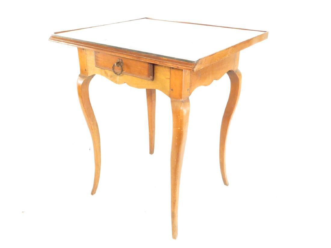 SMALL GLASS TOP CHERRYWOOD SIDE TABLE - 2