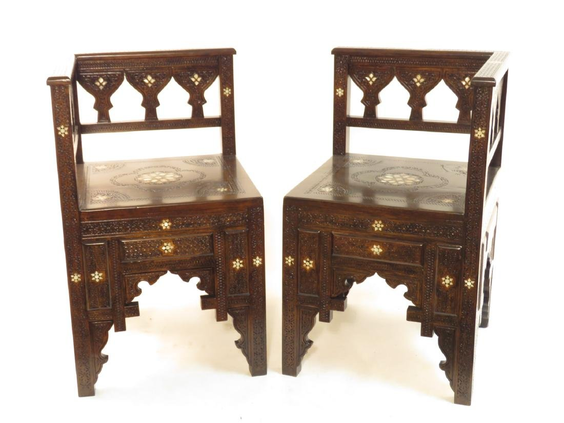 PAIR SYRIAN CARVED INLAID WOOD CORNER CHAIRS