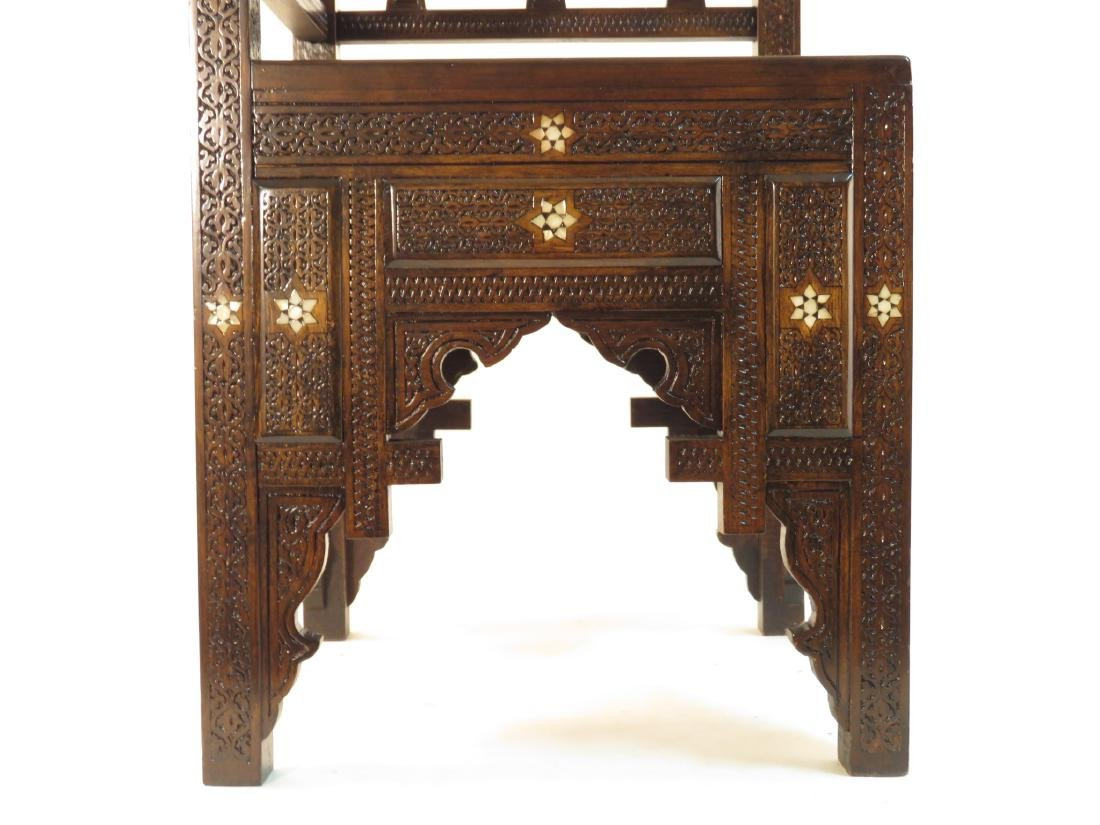 PAIR SYRIAN CARVED INLAID WOOD CORNER CHAIRS - 7