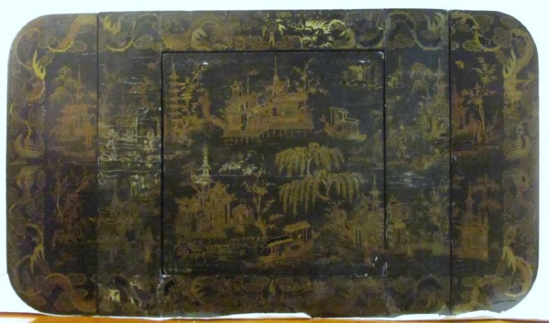 ANTIQUE VICTORIAN CHINESE BLACK LACQUER GAME TABLE - 2