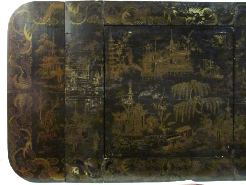 ANTIQUE VICTORIAN CHINESE BLACK LACQUER GAME TABLE - 3