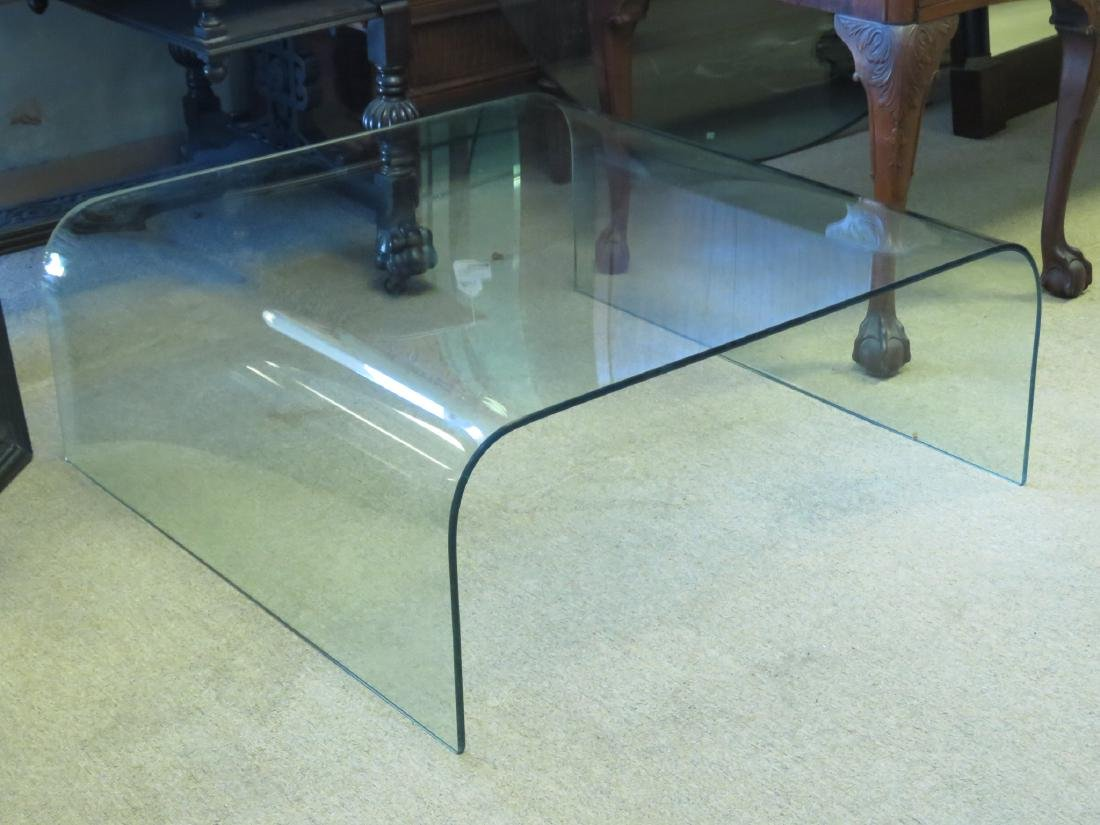 VINTAGE CURVED GLASS WATERFALL COFFEE TABLE