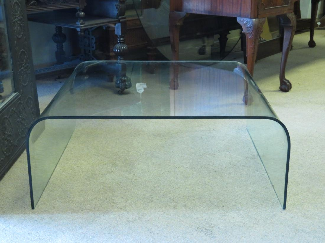 VINTAGE CURVED GLASS WATERFALL COFFEE TABLE - 2
