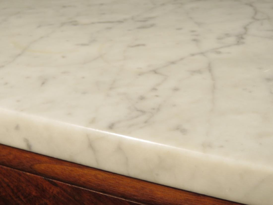 ANTIQUE EASTLAKE VICTORIAN MARBLE TOP CHEST ON LEG - 3