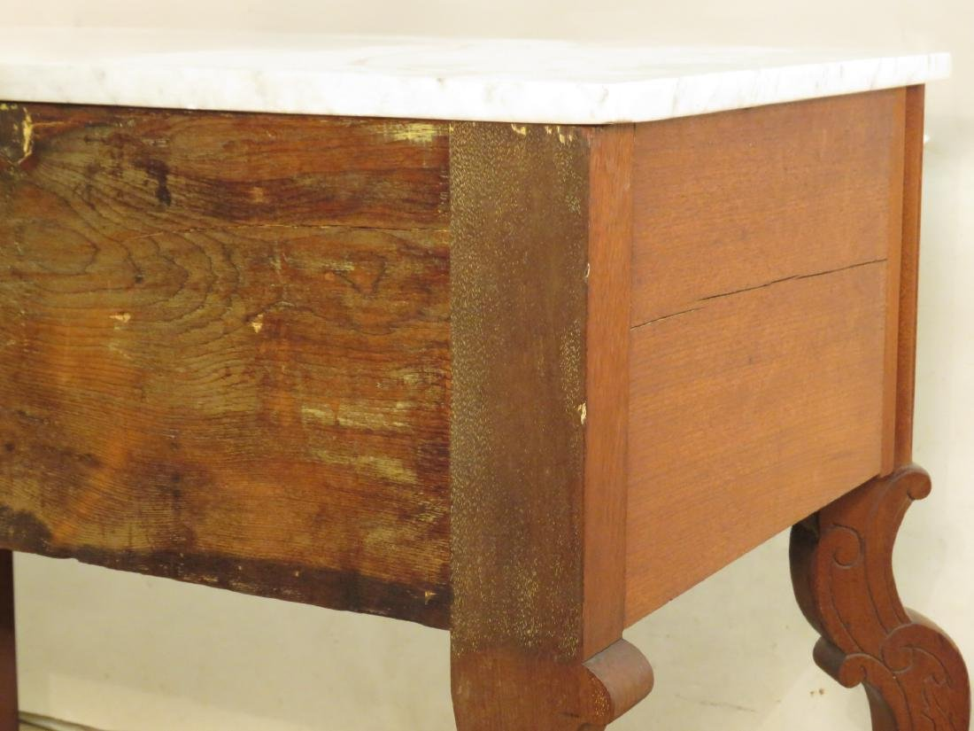 ANTIQUE EASTLAKE VICTORIAN MARBLE TOP CHEST ON LEG - 9