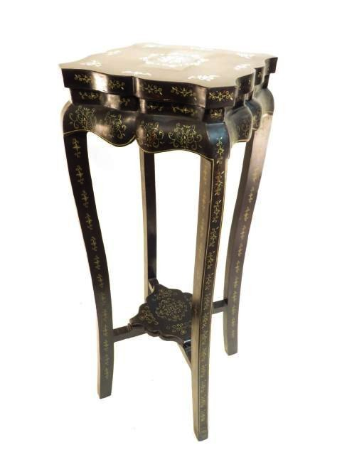 CHINESE BLACK LACQUER MOP INLAID PEDESTAL STAND