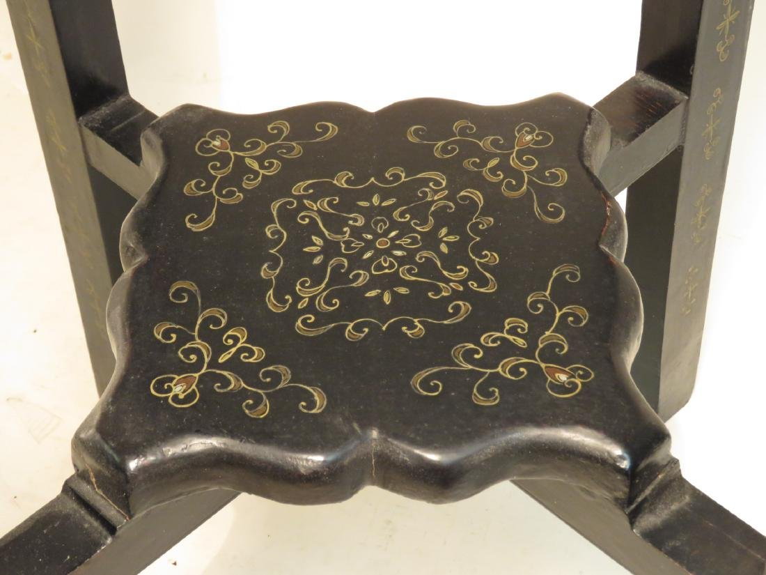 CHINESE BLACK LACQUER MOP INLAID PEDESTAL STAND - 4