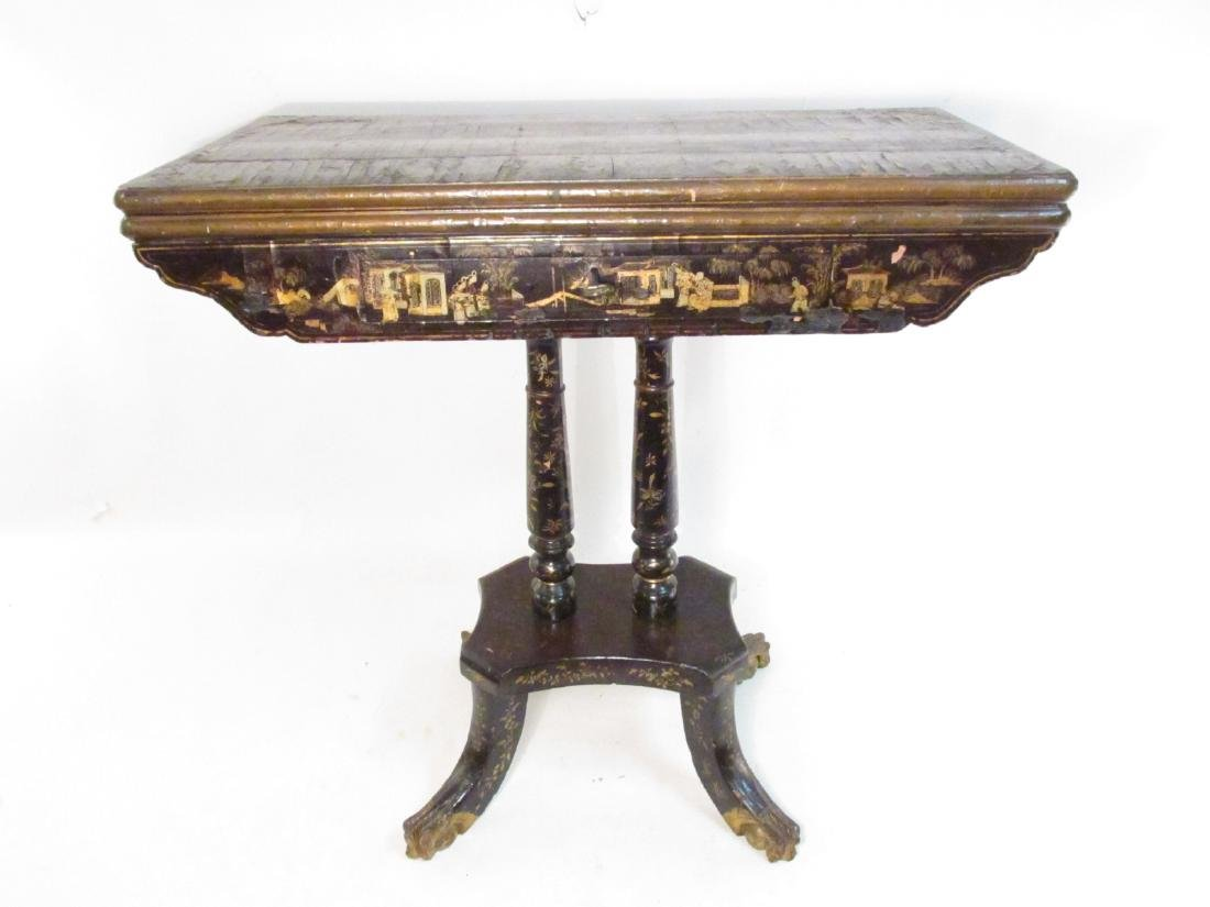ANTIQUE CHINESE EXPORT BLACK LACQUER GAMES TABLE