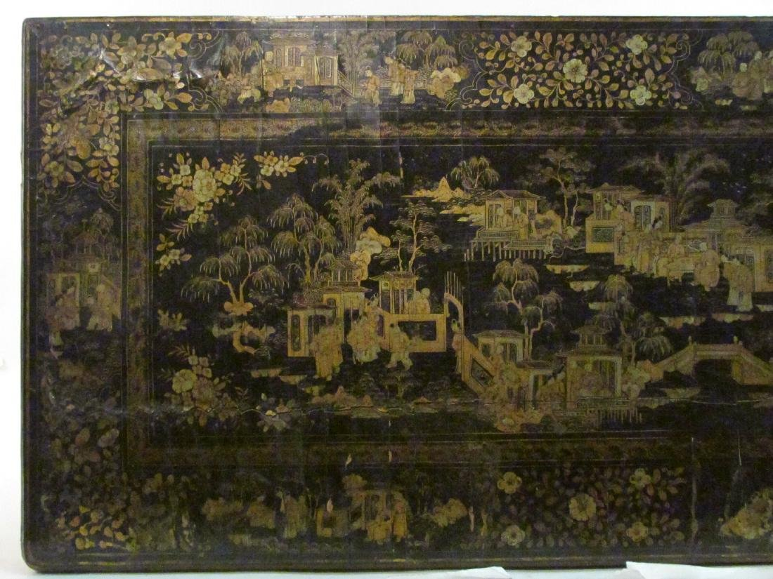 ANTIQUE CHINESE EXPORT BLACK LACQUER GAMES TABLE - 2