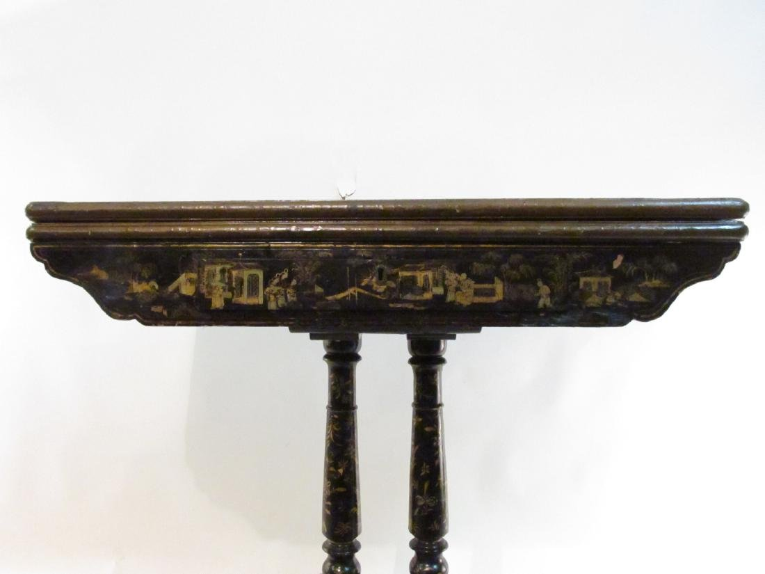 ANTIQUE CHINESE EXPORT BLACK LACQUER GAMES TABLE - 8