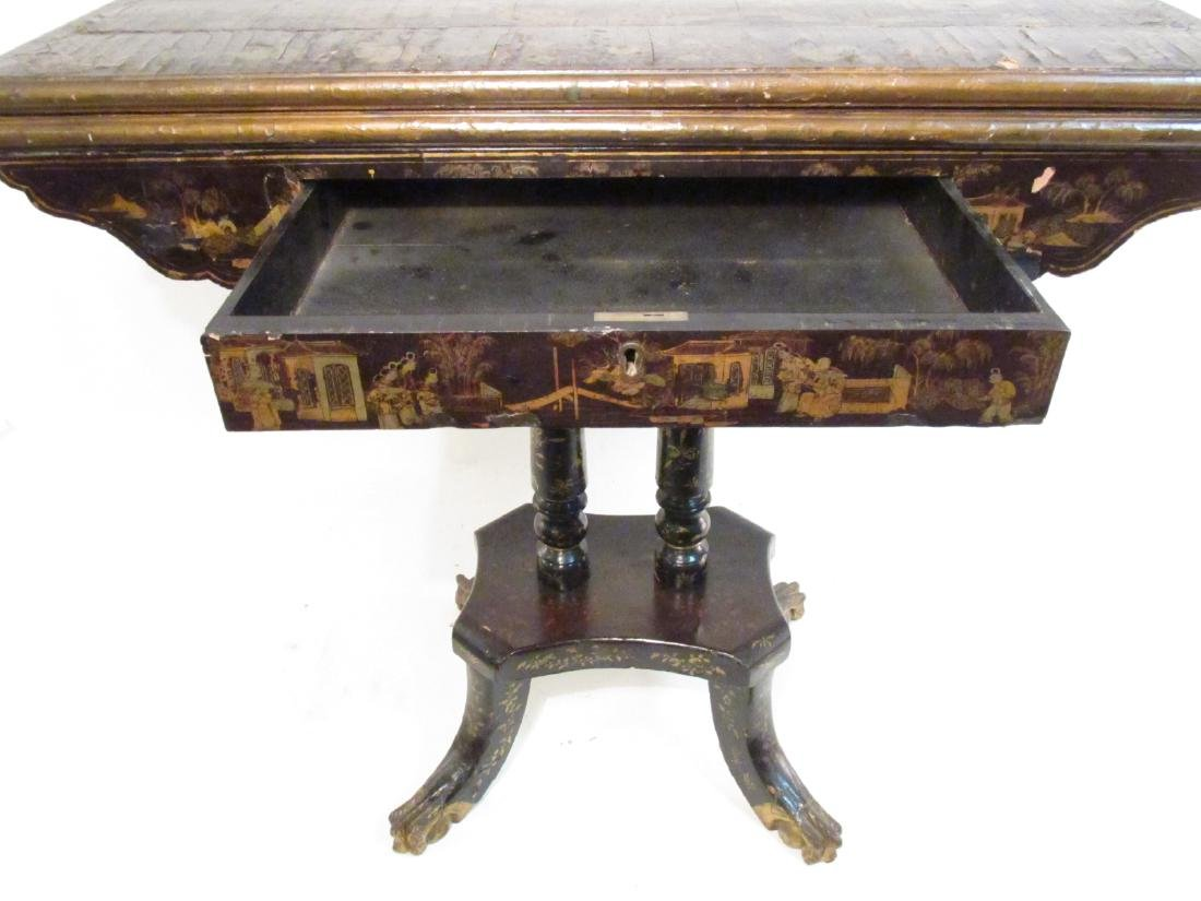ANTIQUE CHINESE EXPORT BLACK LACQUER GAMES TABLE - 9