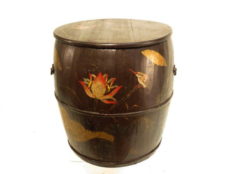 ANTIQUE JAPANESE HAND PAINTED WOODEN BARREL
