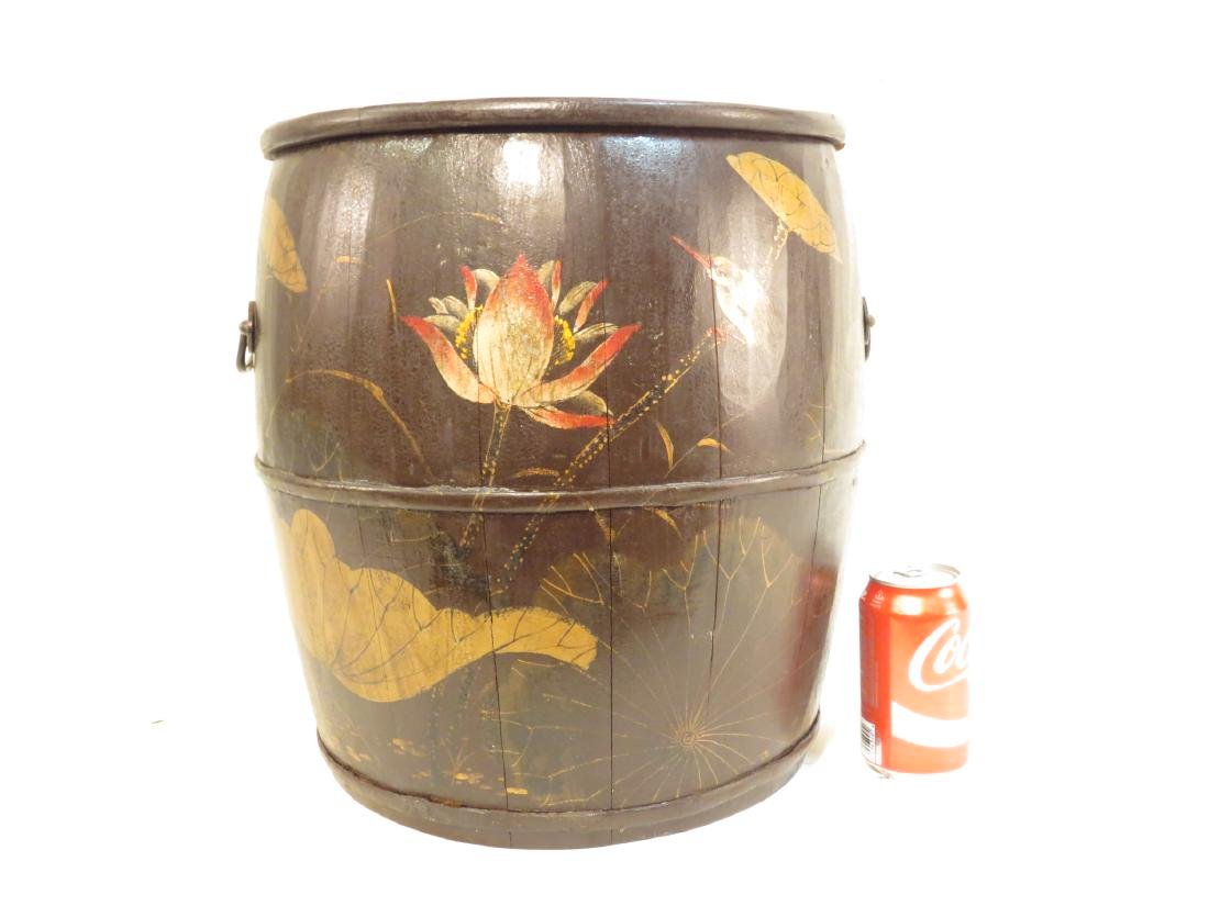 ANTIQUE JAPANESE HAND PAINTED WOODEN BARREL - 5