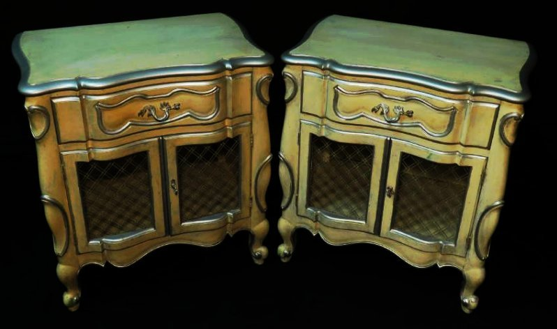 PAIR CONTINENTAL FURNITURE PAINTED NIGHT STANDS