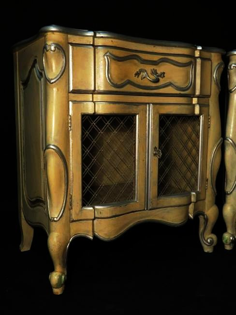 PAIR CONTINENTAL FURNITURE PAINTED NIGHT STANDS - 2