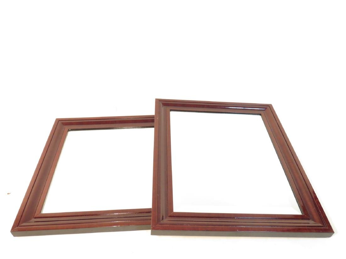 PAIR MAHOGANY BEVELED GLASS WALL MIRRORS