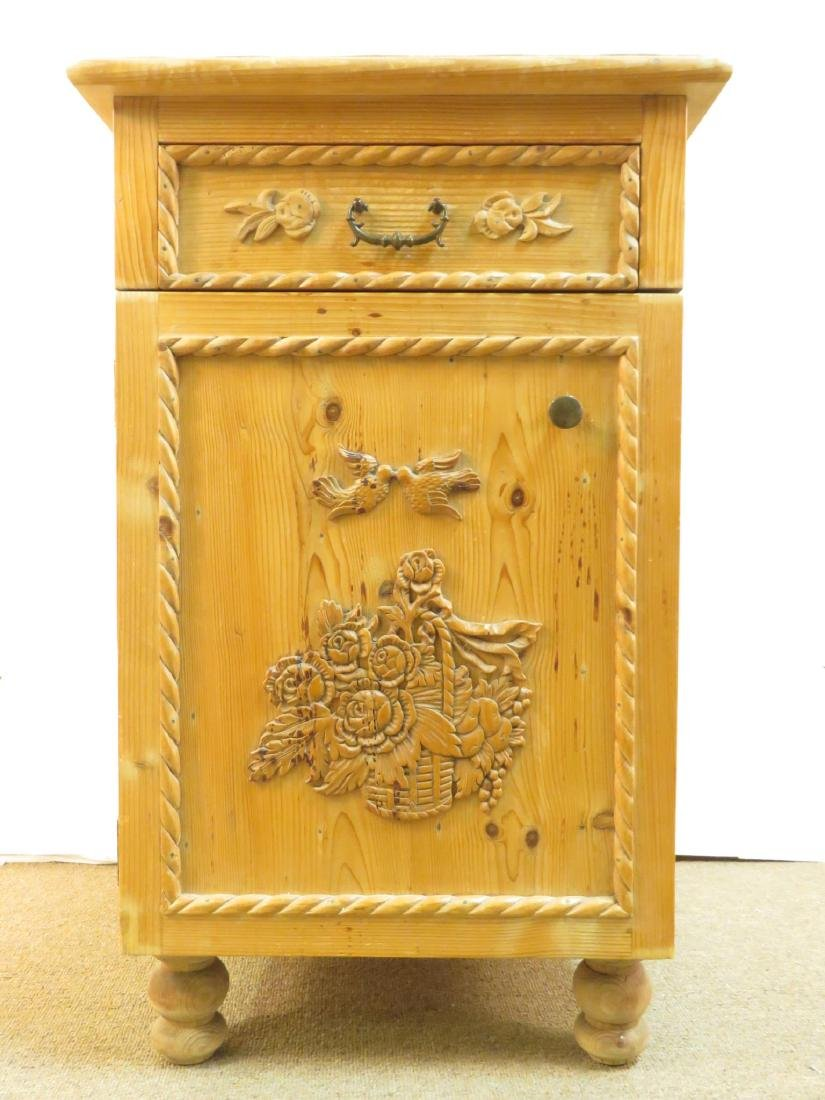 SMALL CARVED PINE SIDE TABLE CABINET