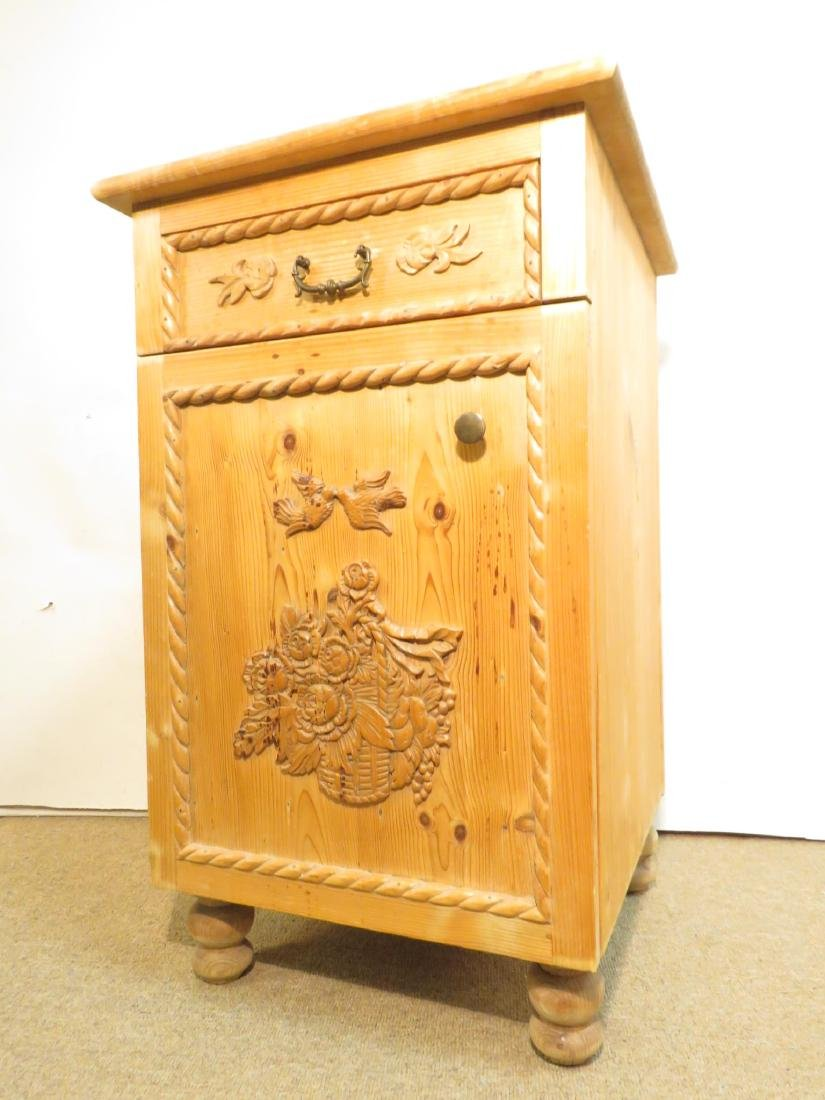 SMALL CARVED PINE SIDE TABLE CABINET - 2
