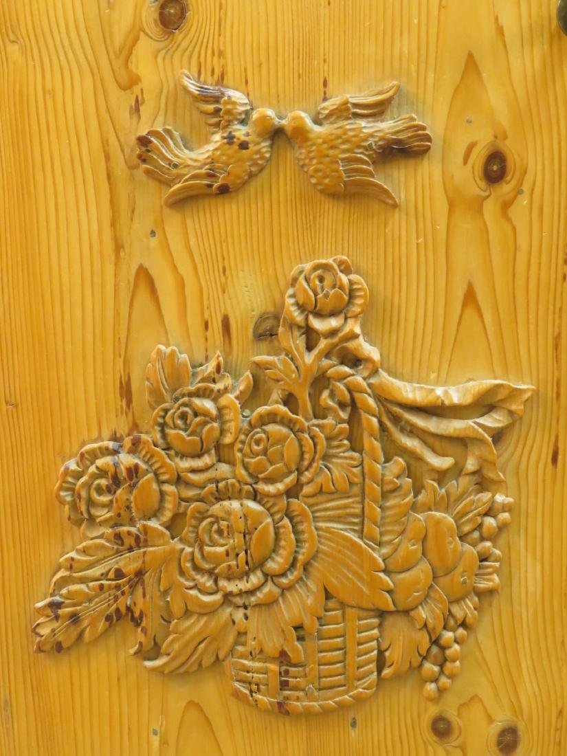 SMALL CARVED PINE SIDE TABLE CABINET - 3