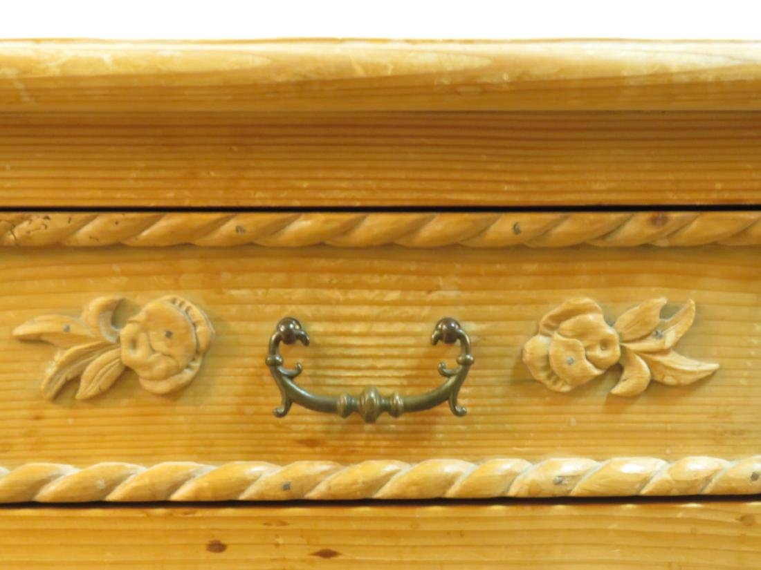 SMALL CARVED PINE SIDE TABLE CABINET - 4