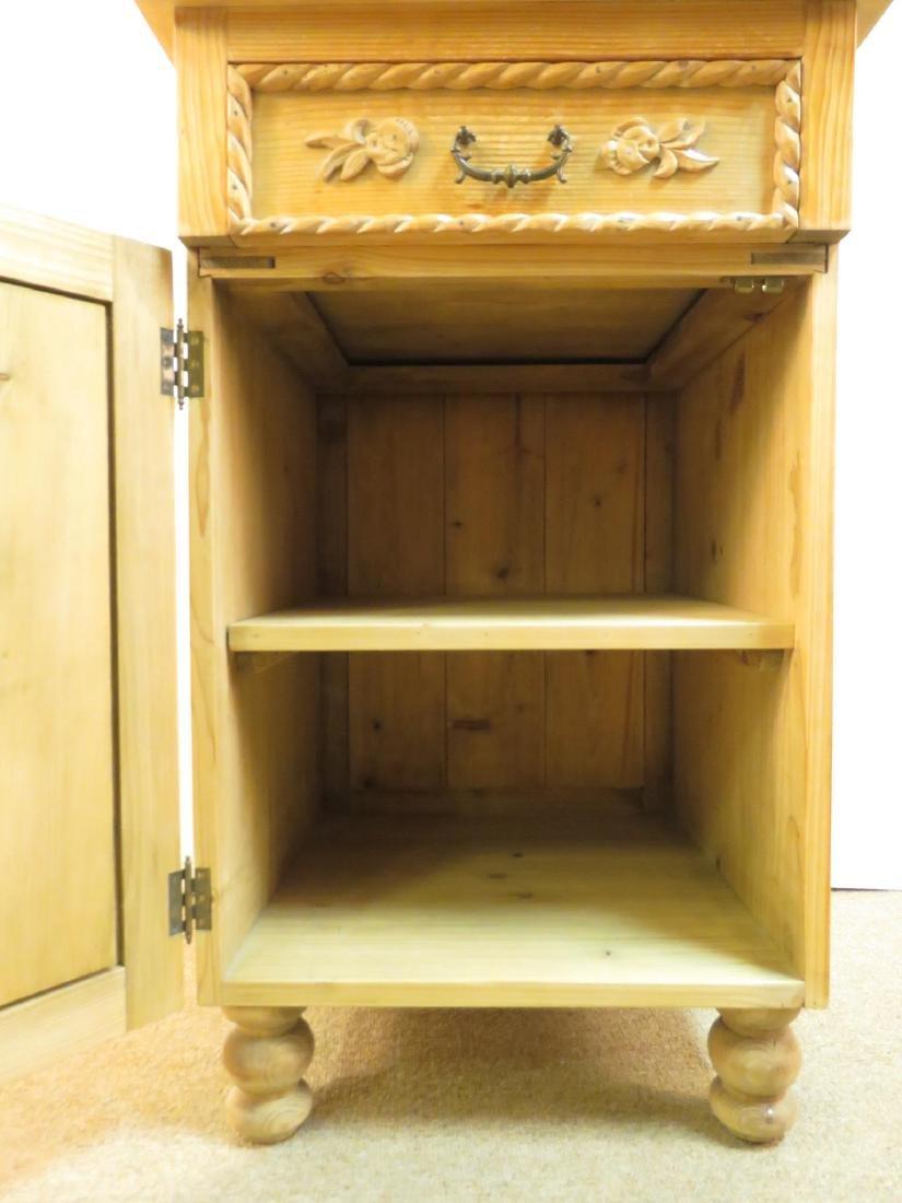 SMALL CARVED PINE SIDE TABLE CABINET - 5