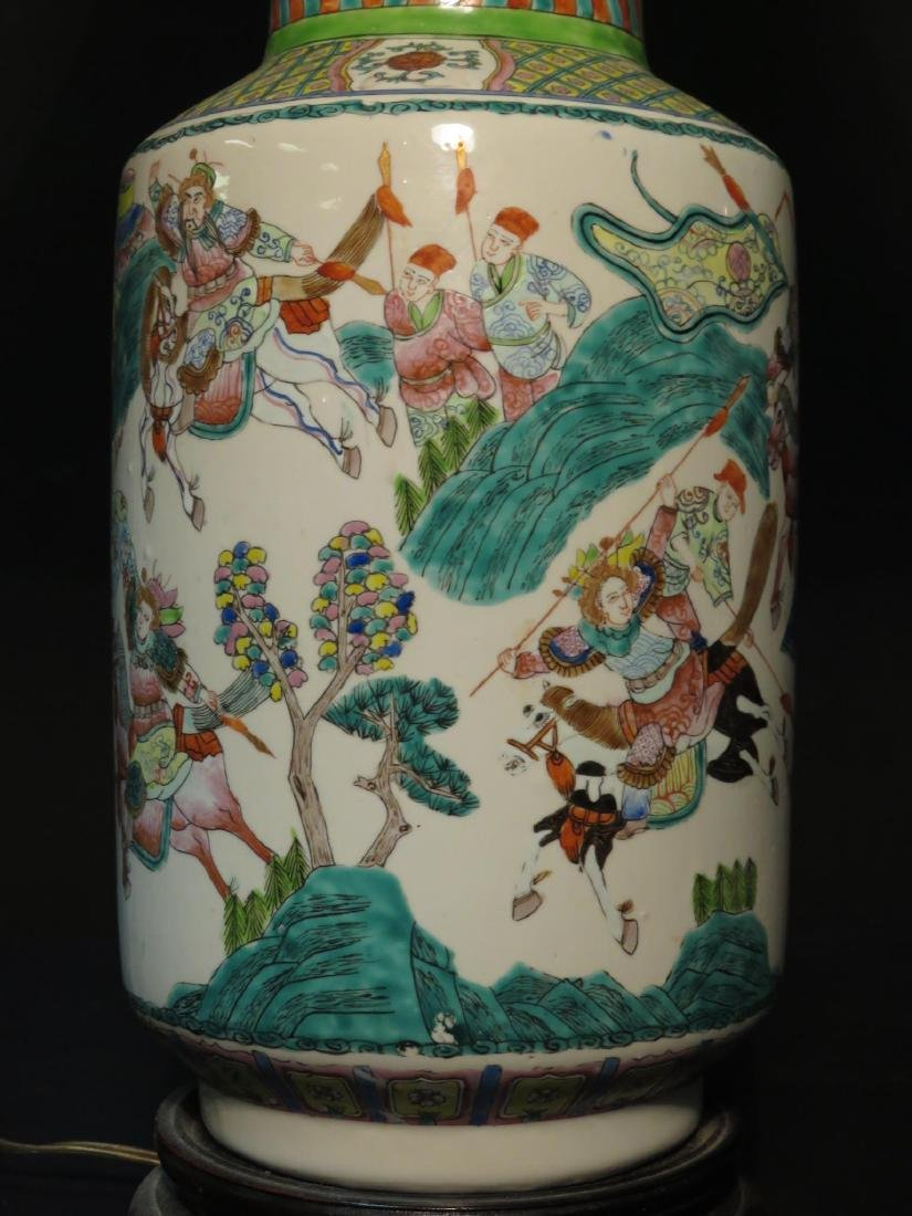 PAIR CHINESE FAMILLE ROSE VASES AS TABLE LAMPS - 4
