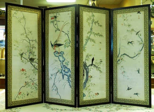 HUGE ASIAN HAND EMBROIDERED SILK DIVIDER SCREEN