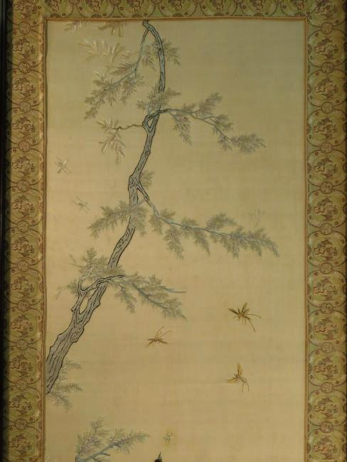 HUGE ASIAN HAND EMBROIDERED SILK DIVIDER SCREEN - 2