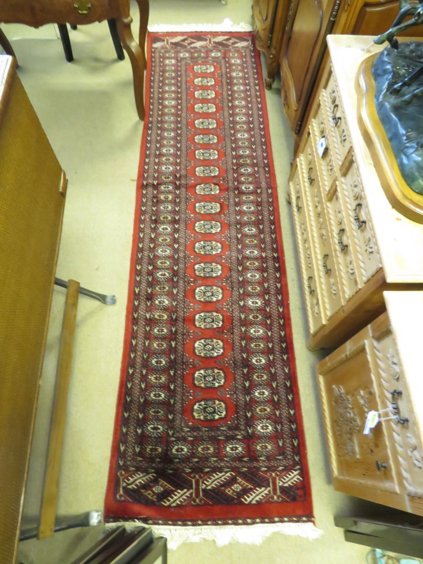 HAND KNOTTED PAK-PERSIAN WOOL & COTTON RUNNER 3X10