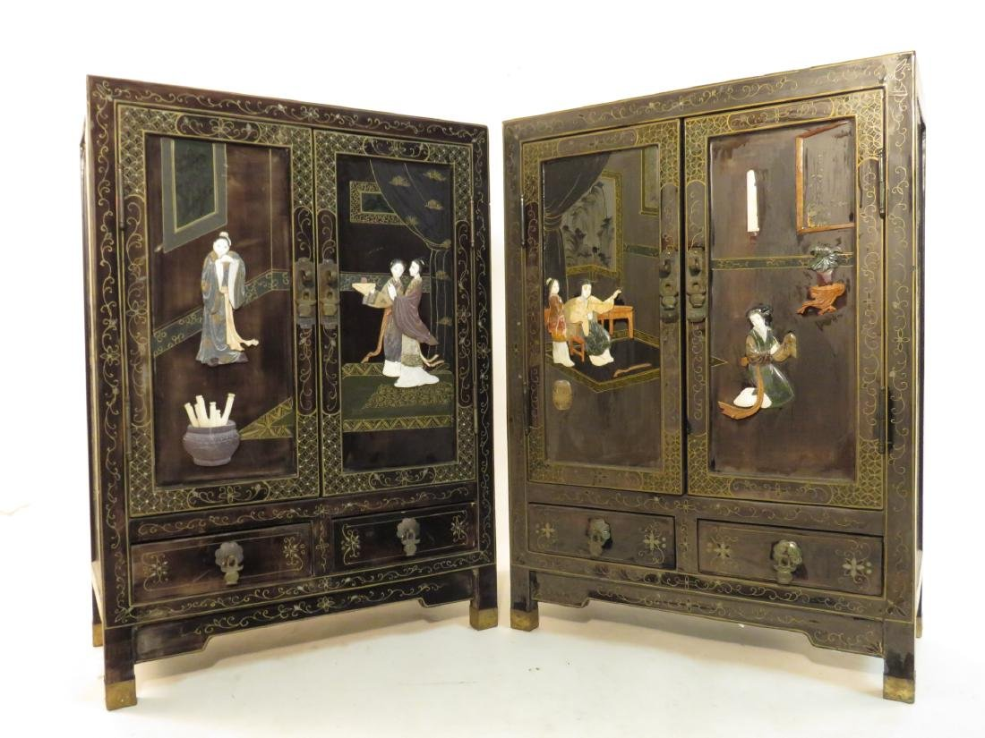 PAIR CHINESE STONE INLAID BLACK LACQUER CABINETS