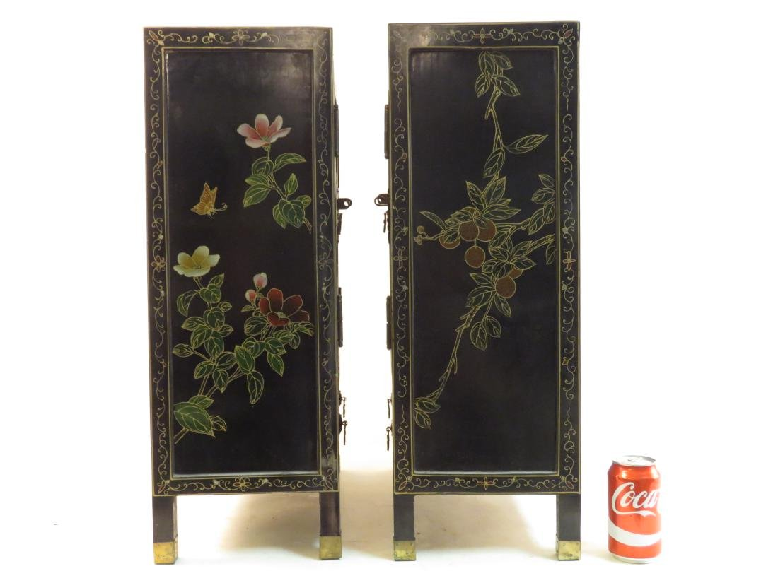 PAIR CHINESE STONE INLAID BLACK LACQUER CABINETS - 5