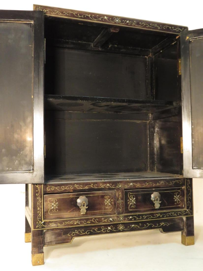 PAIR CHINESE STONE INLAID BLACK LACQUER CABINETS - 6