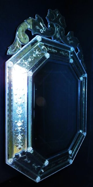VENETIAN STYLE ENGRAVED GLASS WALL MIRROR