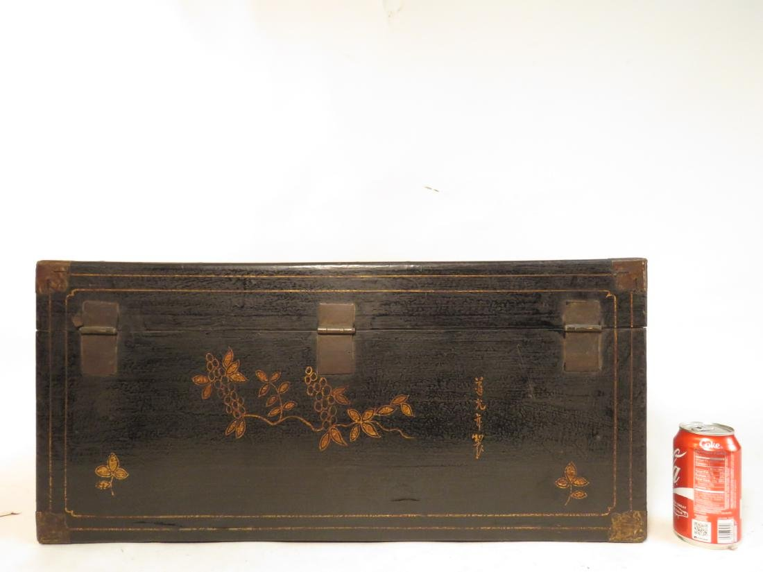 ANTIQUE CHINESE LACQUERED CHEST - 8