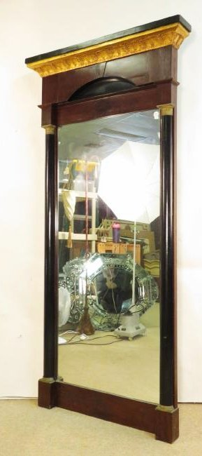 LARGE EMPIRE PARCEL GILT MAHOGANY PIER MIRROR