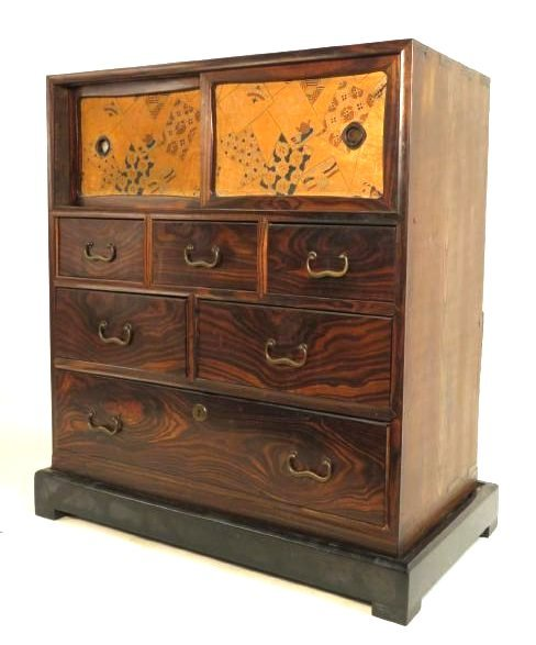 ANTIQUE JAPANESE ROSEWOOD TANSU CABINET CHEST OF DRAWER