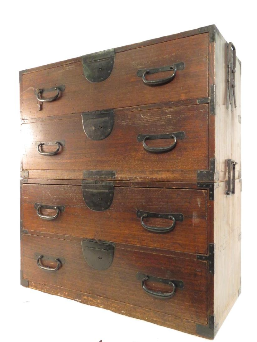 ANTIQUE KOREAN TANSU STYLE STACKING DOUBLE CHEST ON CHE