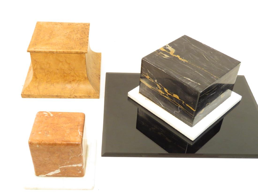 THREE MARBLE/WOOD PLINTHS / STANDS / BASES