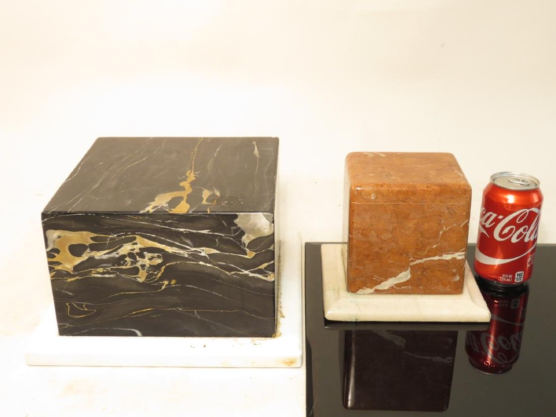 THREE MARBLE/WOOD PLINTHS / STANDS / BASES - 7