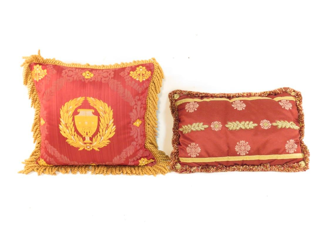 TWO DECORATIVE SILK THROW PILLOWS