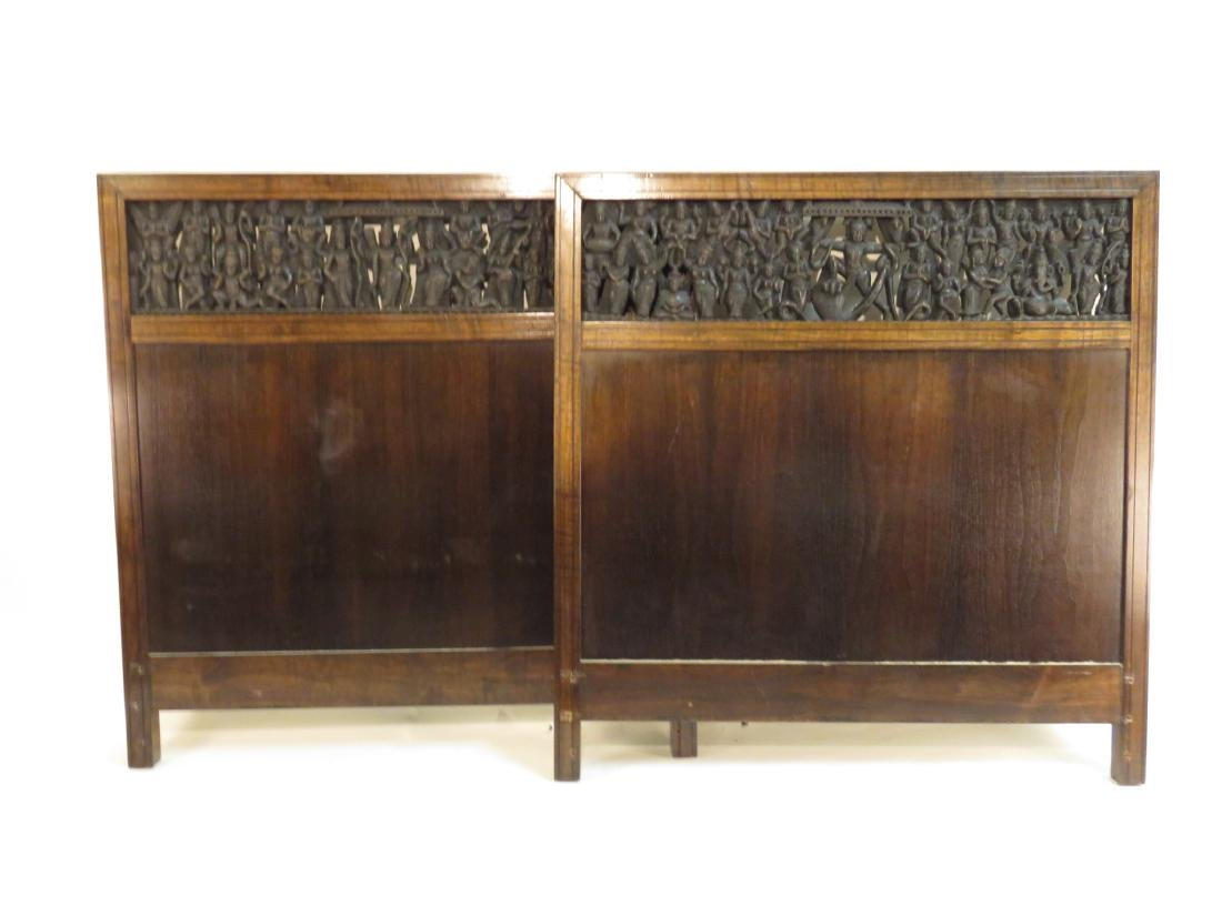 PAIR INDO-ASIAN CARVED HARDWOOD TWIN HEADBOARDS