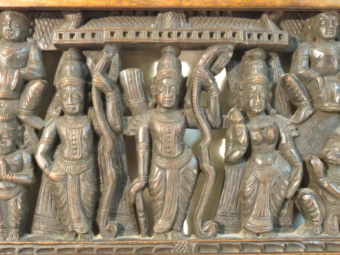 PAIR INDO-ASIAN CARVED HARDWOOD TWIN HEADBOARDS - 4