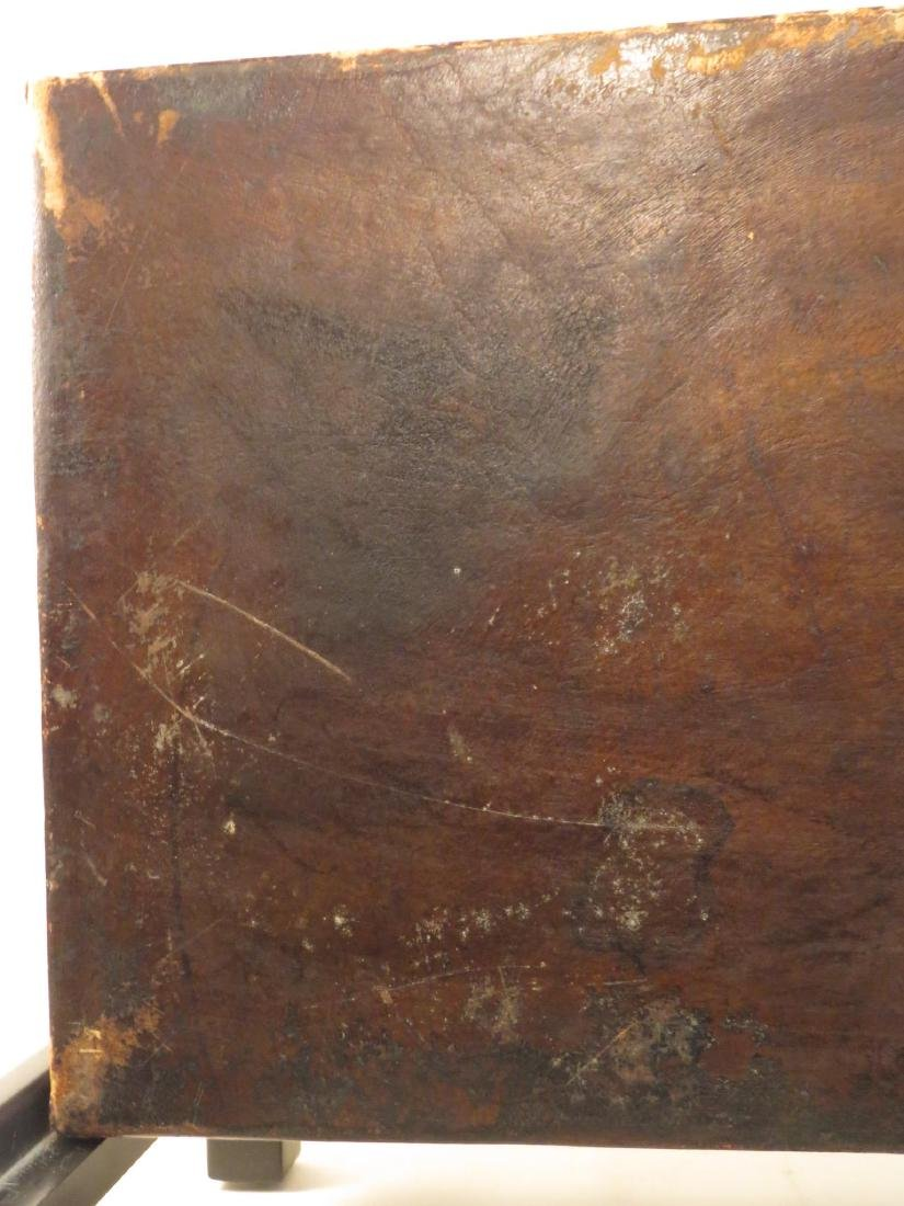 VINTAGE CHINESE EMBOSSED LEATHER CHEST ON LEGS - 10
