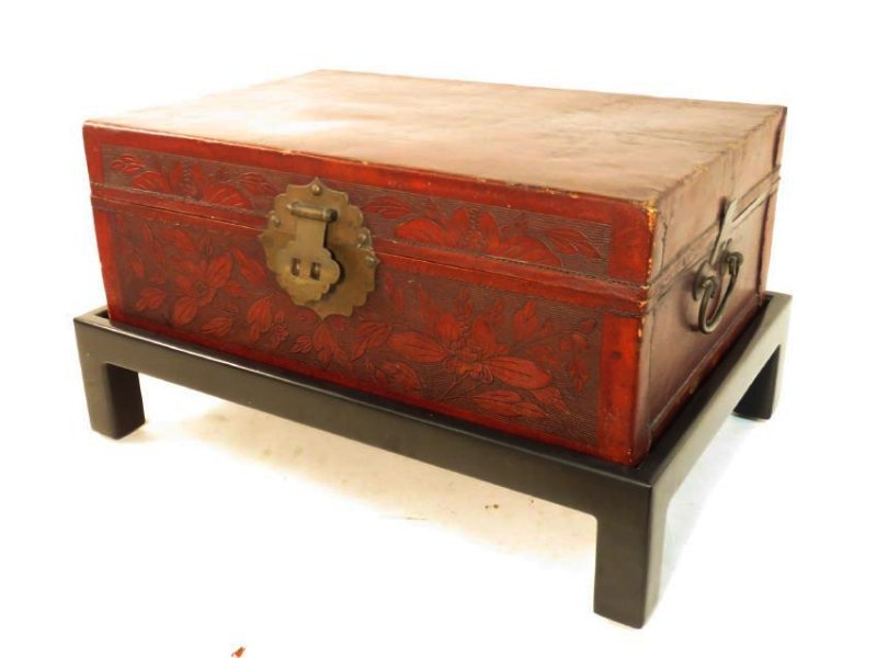 VINTAGE CHINESE EMBOSSED LEATHER CHEST ON LEGS - 2