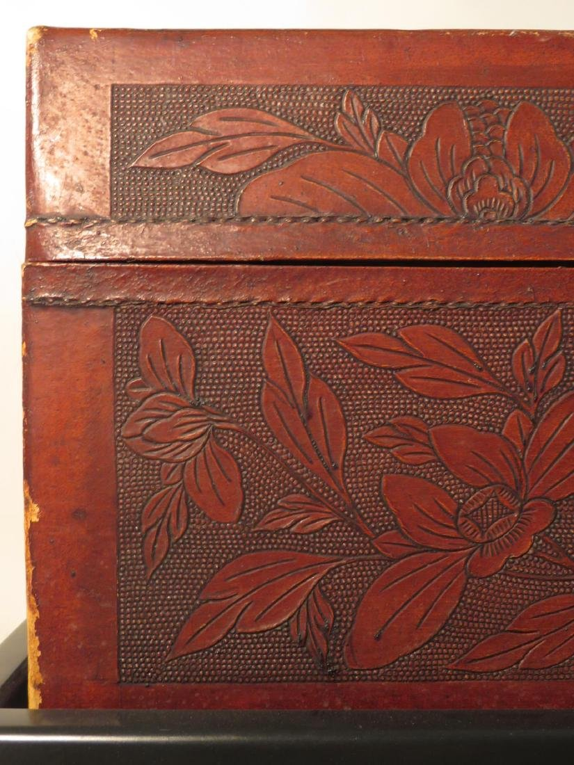 VINTAGE CHINESE EMBOSSED LEATHER CHEST ON LEGS - 3