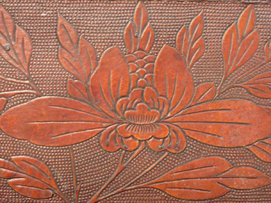 VINTAGE CHINESE EMBOSSED LEATHER CHEST ON LEGS - 4